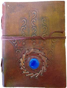 "5"" x 7"" Evil Eye Stone Embossed leather w/ cord"
