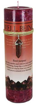 Well Being pillar candle withRed Jasper pendant