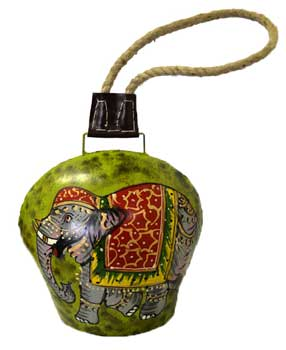 "8"" Elephant painted bell with rope"