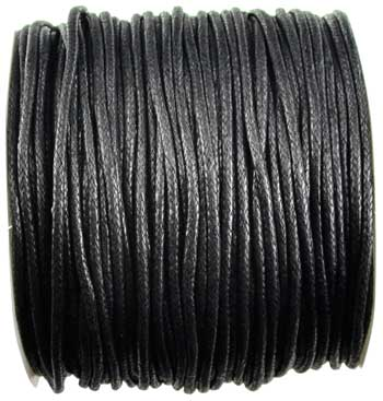 Black Waxed Cotton 2mm 100 meters