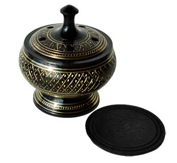 "3 1/2"" black engraved brass burner"