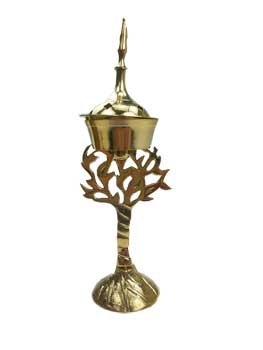 "8"" Tree of Life brass incense burner"
