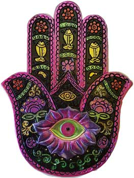 Black & Fuchia Hamsa incense burner