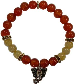 8mm Carnelian/ Rutilated Ganesha