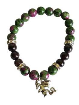 8mm Ruby Zoisite/ Garnet with Dragon