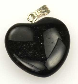 "3/4"" (20mm) Obsidian, Black heart"