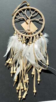 "4 1/2"" Tree of Life tan dream catcher"